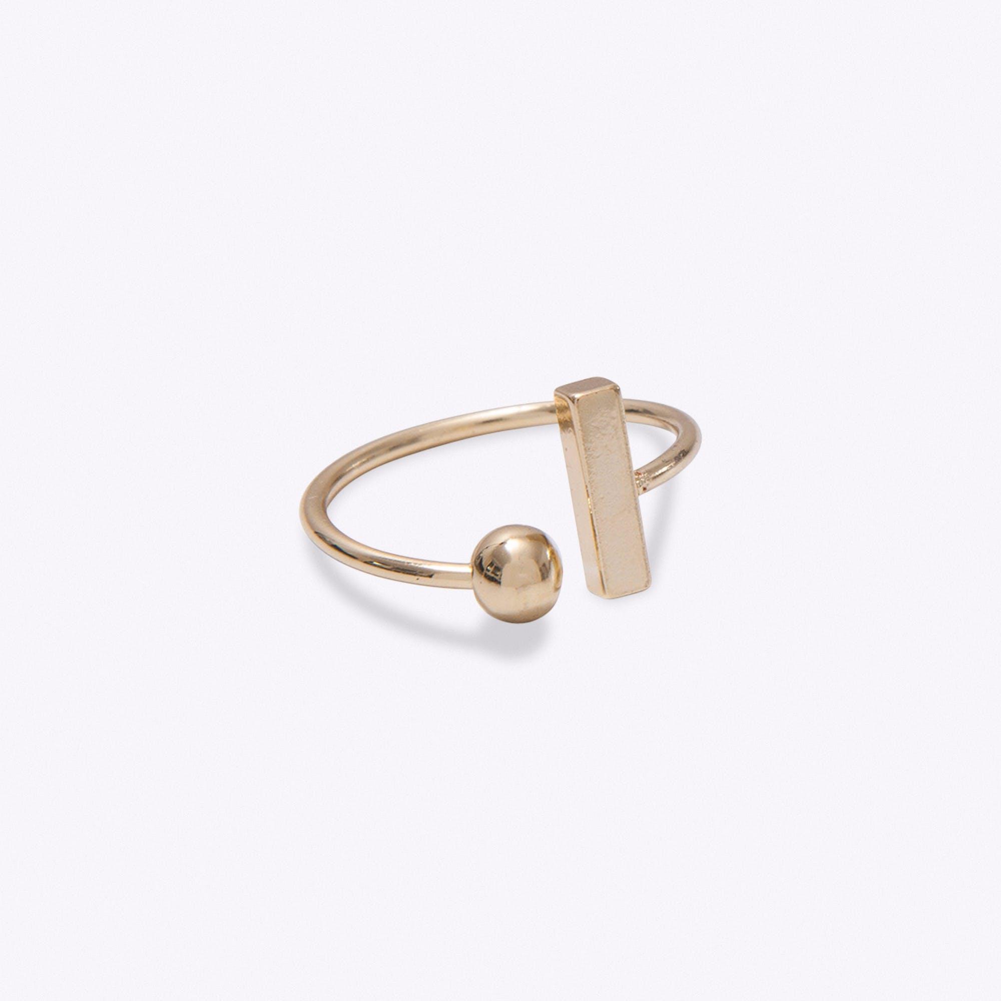 Gold Ball & Bar Ring