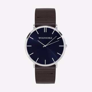 New Richmond Watch Blue & Silver with Brown Strap