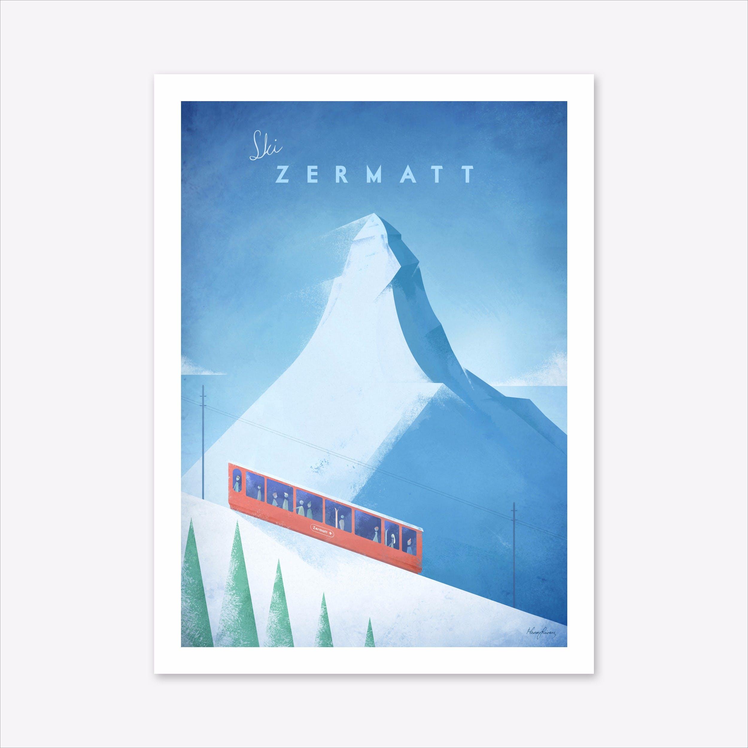Visit Ski Zermatt Art Print