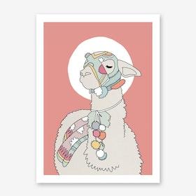 Pink Llama Poster A3 Poster