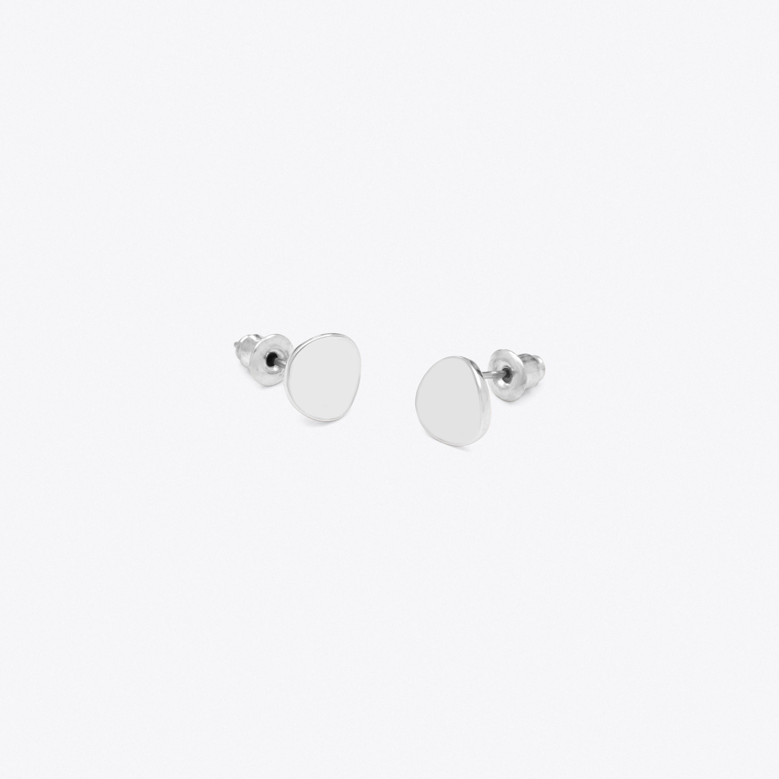 Dipped Circular Studs in Silver