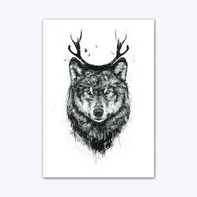 Deer Wolf Blackandwhite Art Print