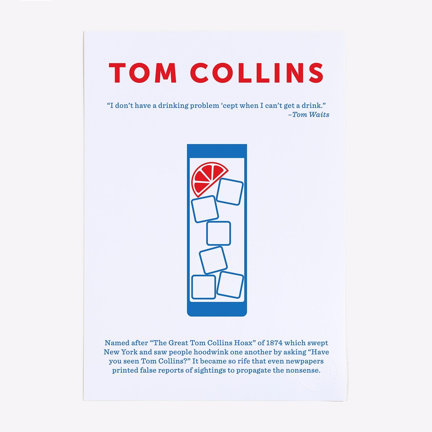 Tom Collins 2 Colour Screen Print