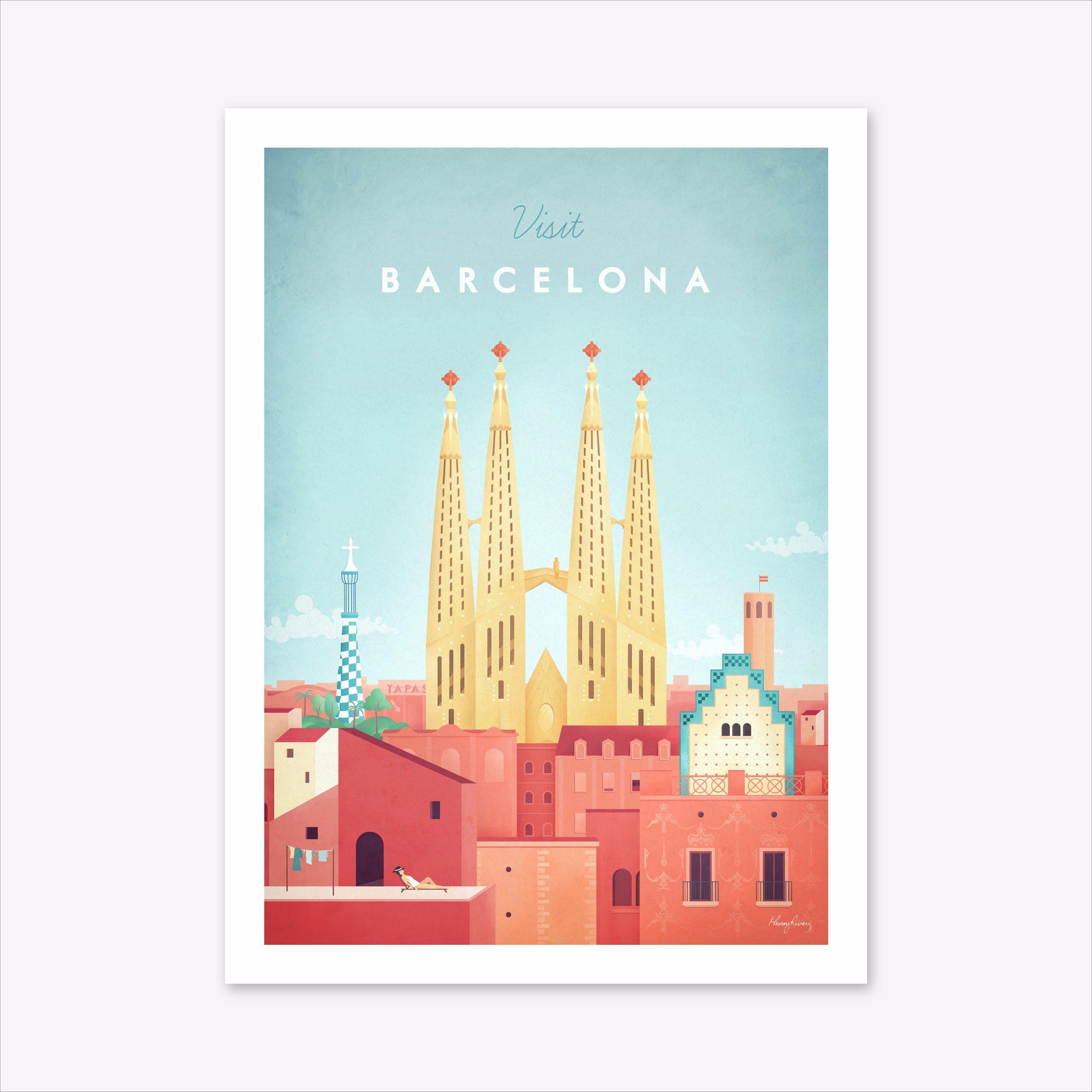 Visit Barcelona Art Print
