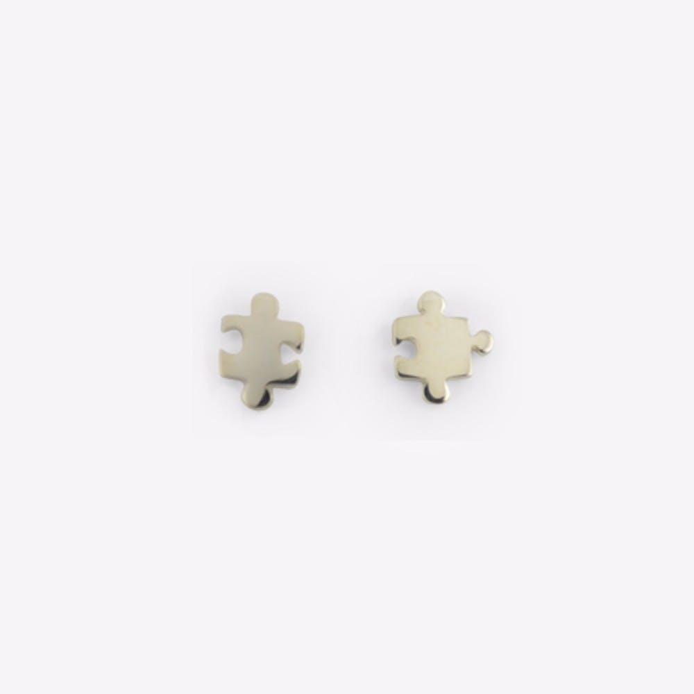 Silver Jigsaw Stud Earrings