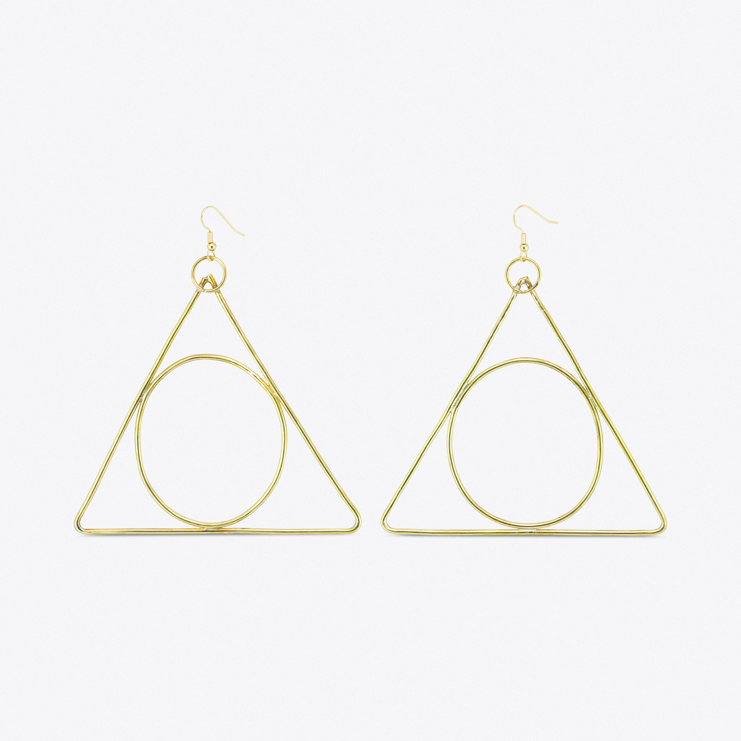 Alchemy Triangle Earrings in Brass