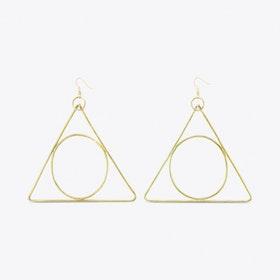 Alchemy Triangle Earrings in Brass