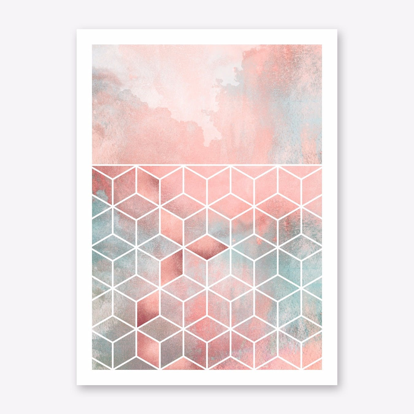 Rose Clouds And Cubes Print