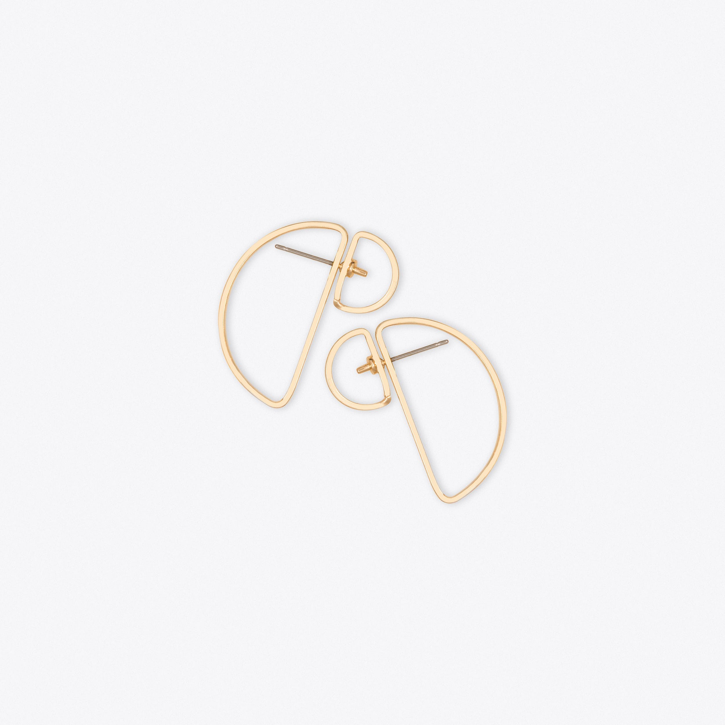 Double Semi Circle Earrings in Gold