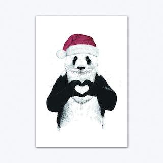 Santa Panda Art Print
