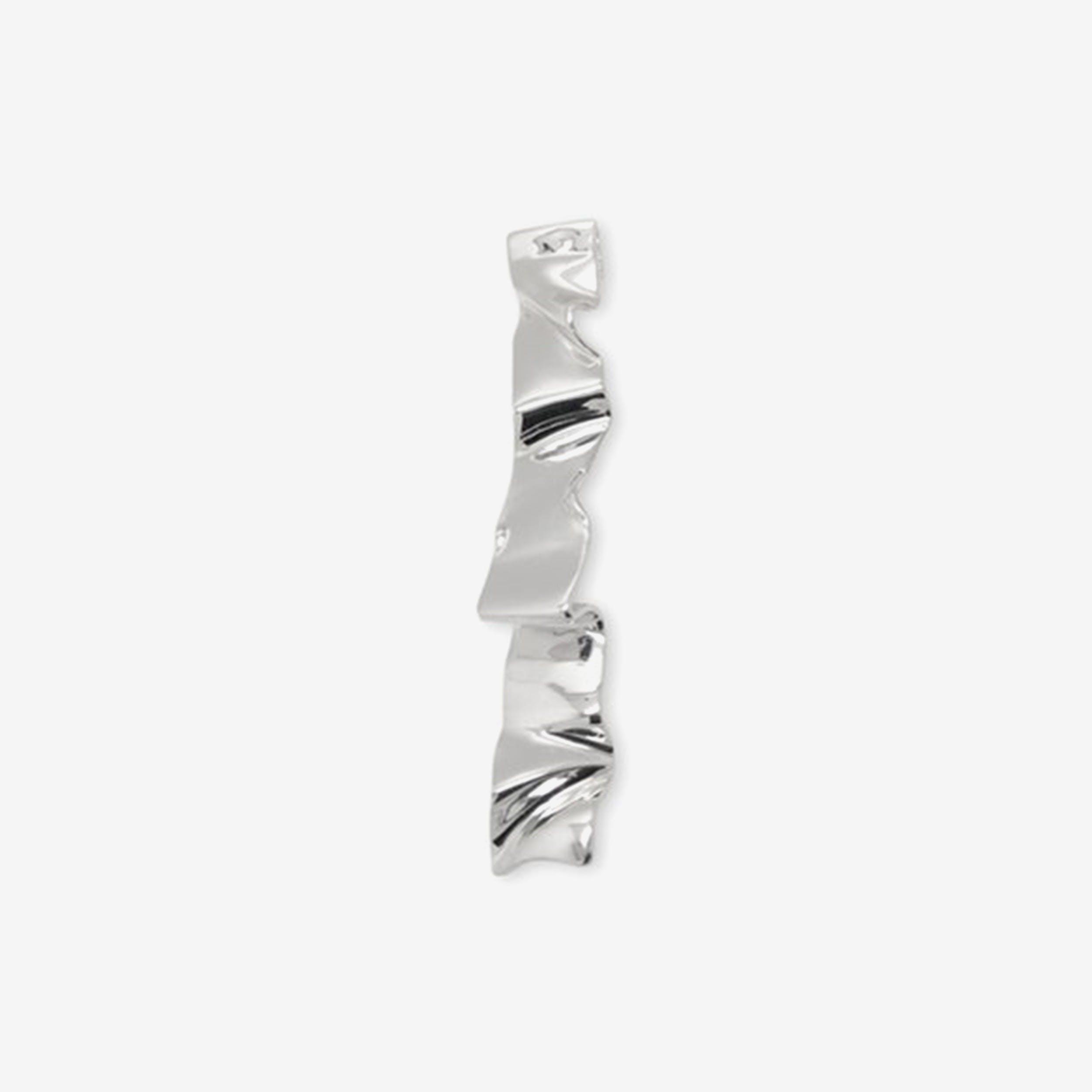 Silver Wave Single Earring
