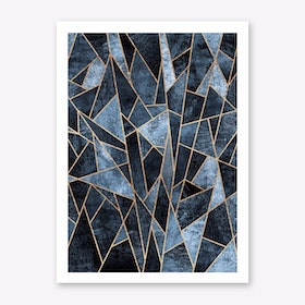 Shattered Soft Dark Blue Art Print