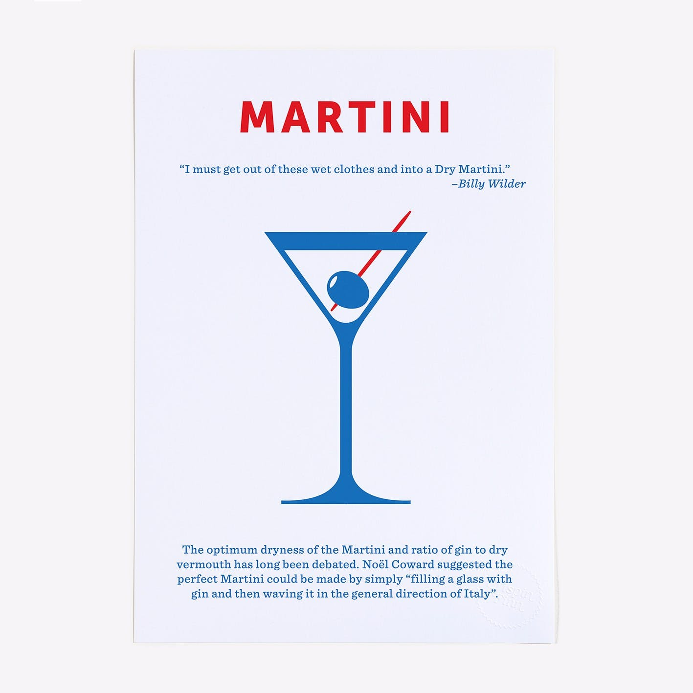Martini 2 Colour Screen Print