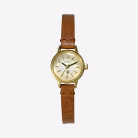 Conwy Watch in Gold & Tan