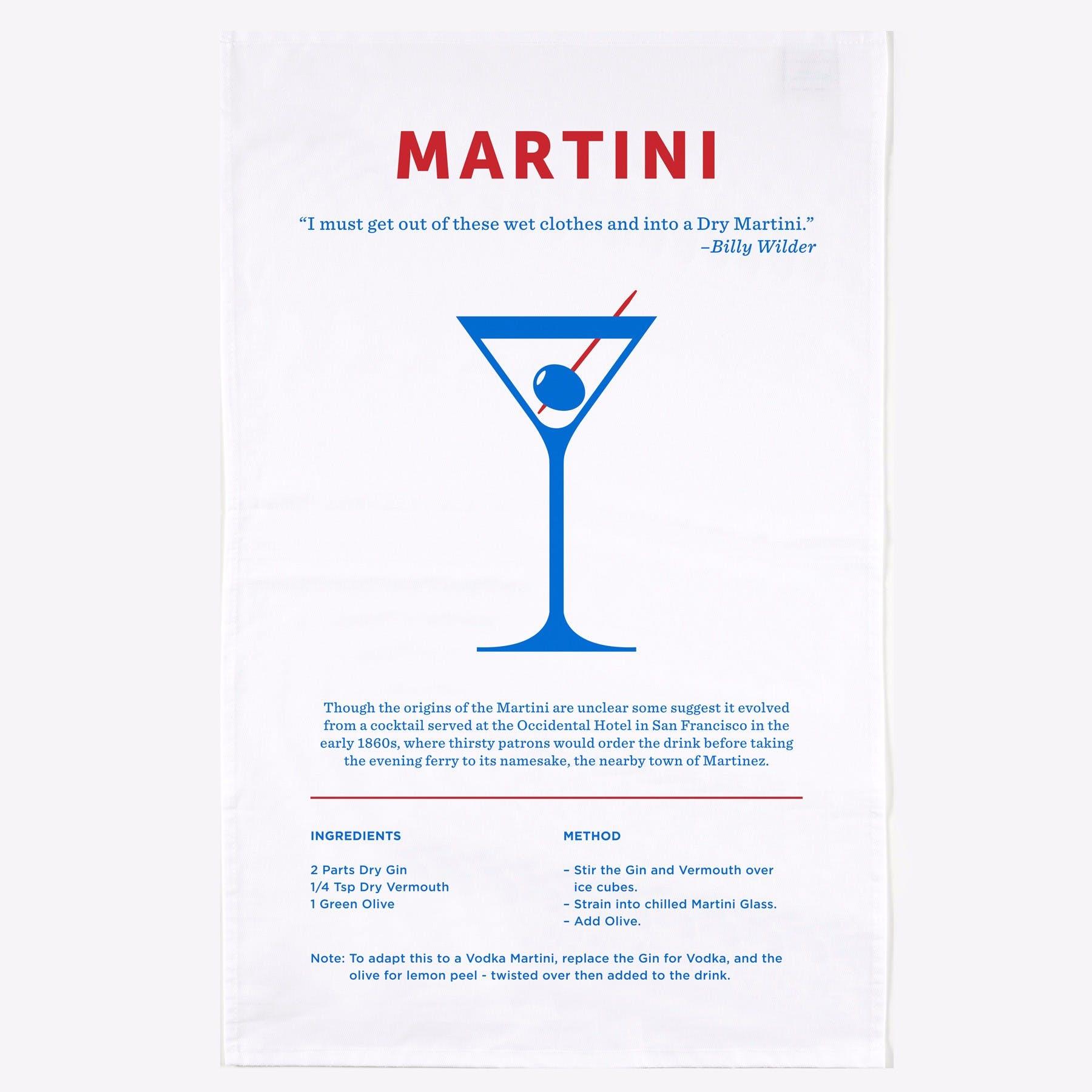 Martini Screen Printed Tea Towel