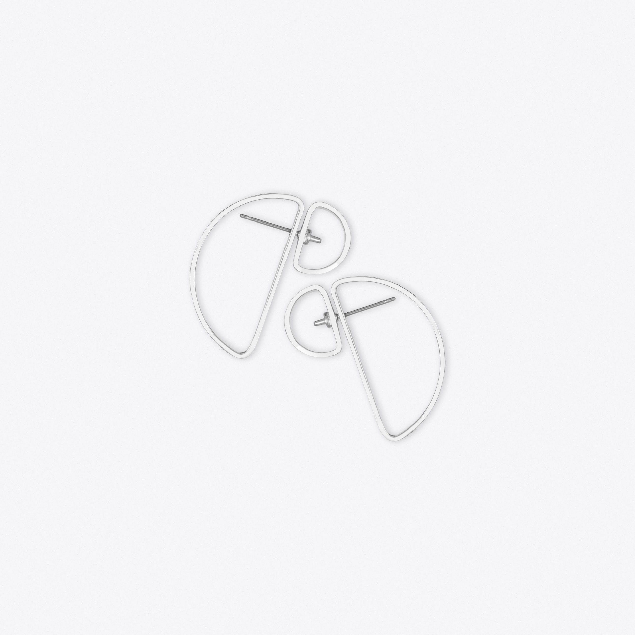 Double Semi Circle Earrings in Silver