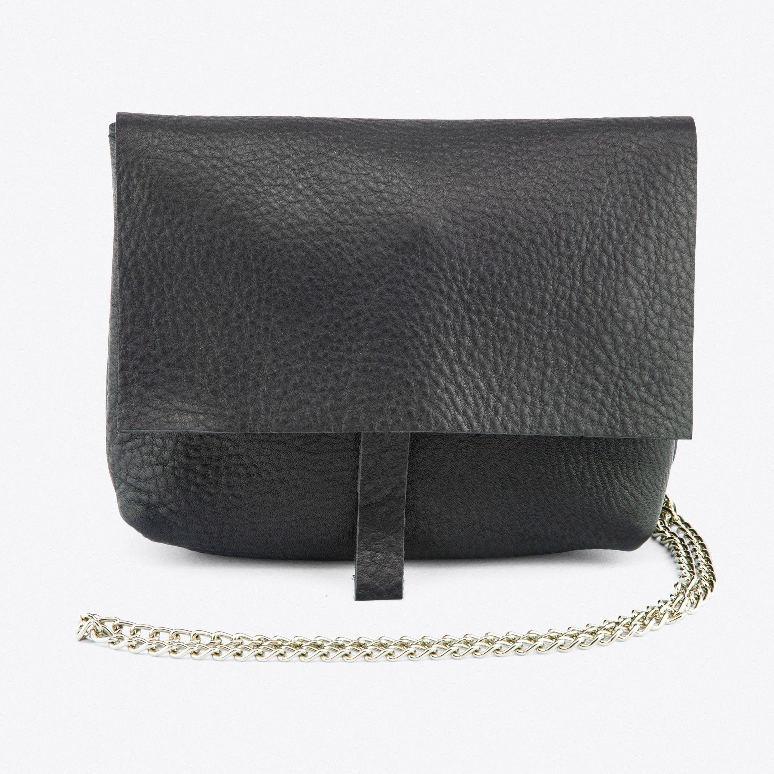 The Black Chain Crossover Bag in Pebbled Leather