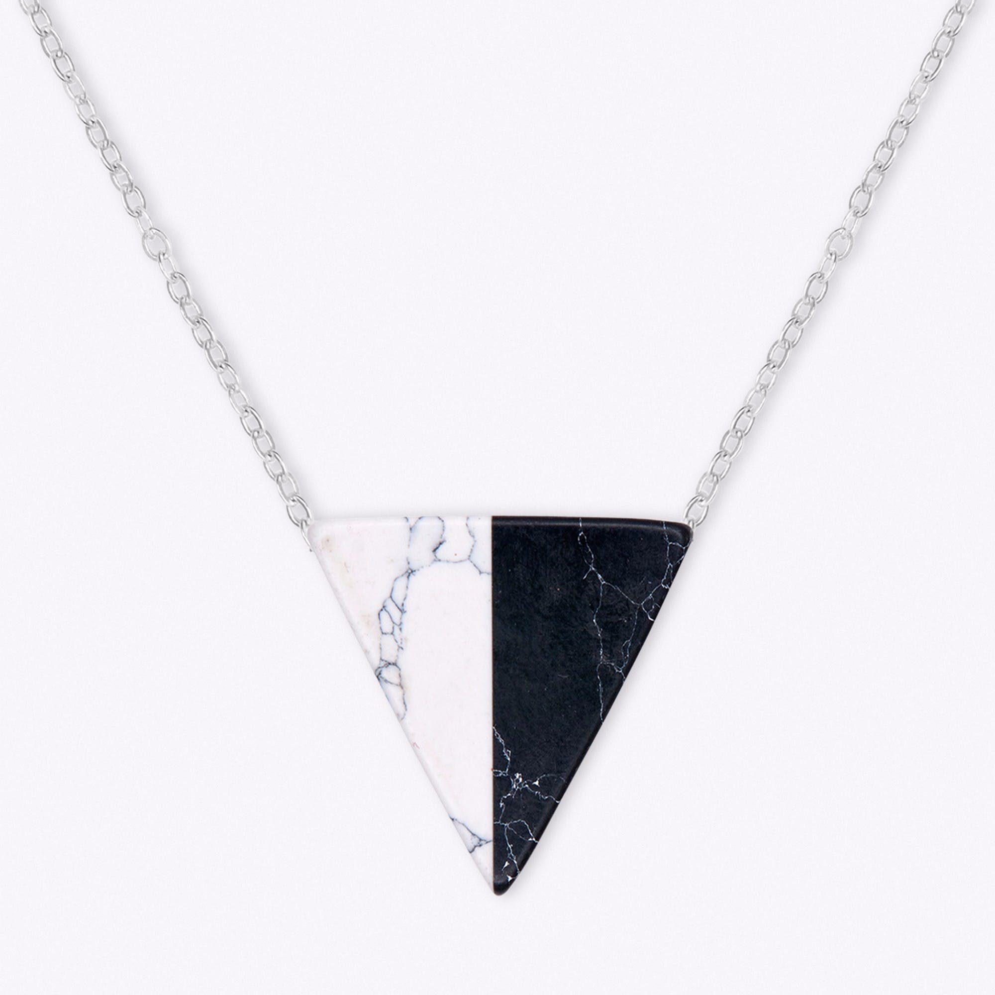 Silver Contrast Marble Necklace