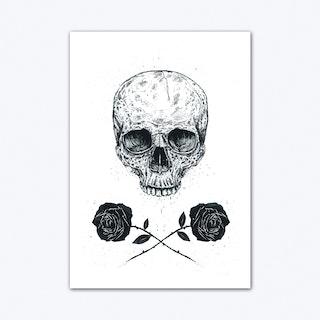 Skull N Roses Art Print