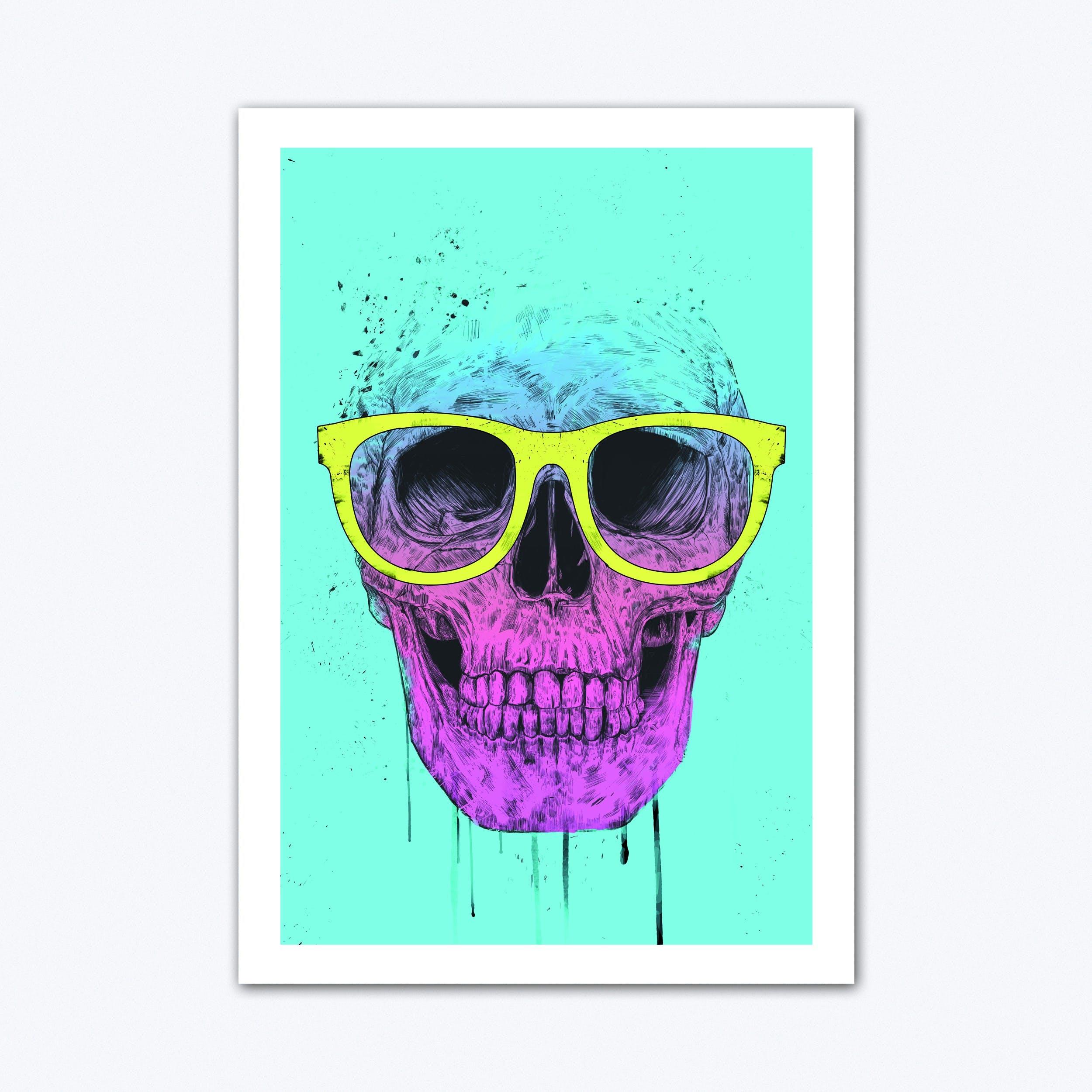 Pop Art Skull With Glasses Art Print