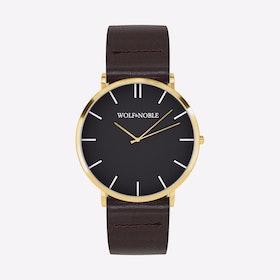 New Richmond Watch Black & Gold with Brown Strap