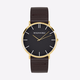 New Richmond Watch Black & Gold with Brown Strap