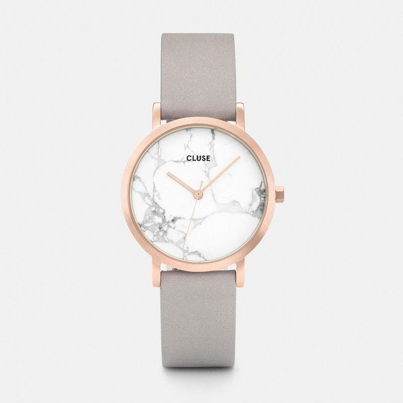 La Roche Petite Watch in Rose Gold, White Marble and Grey Strap