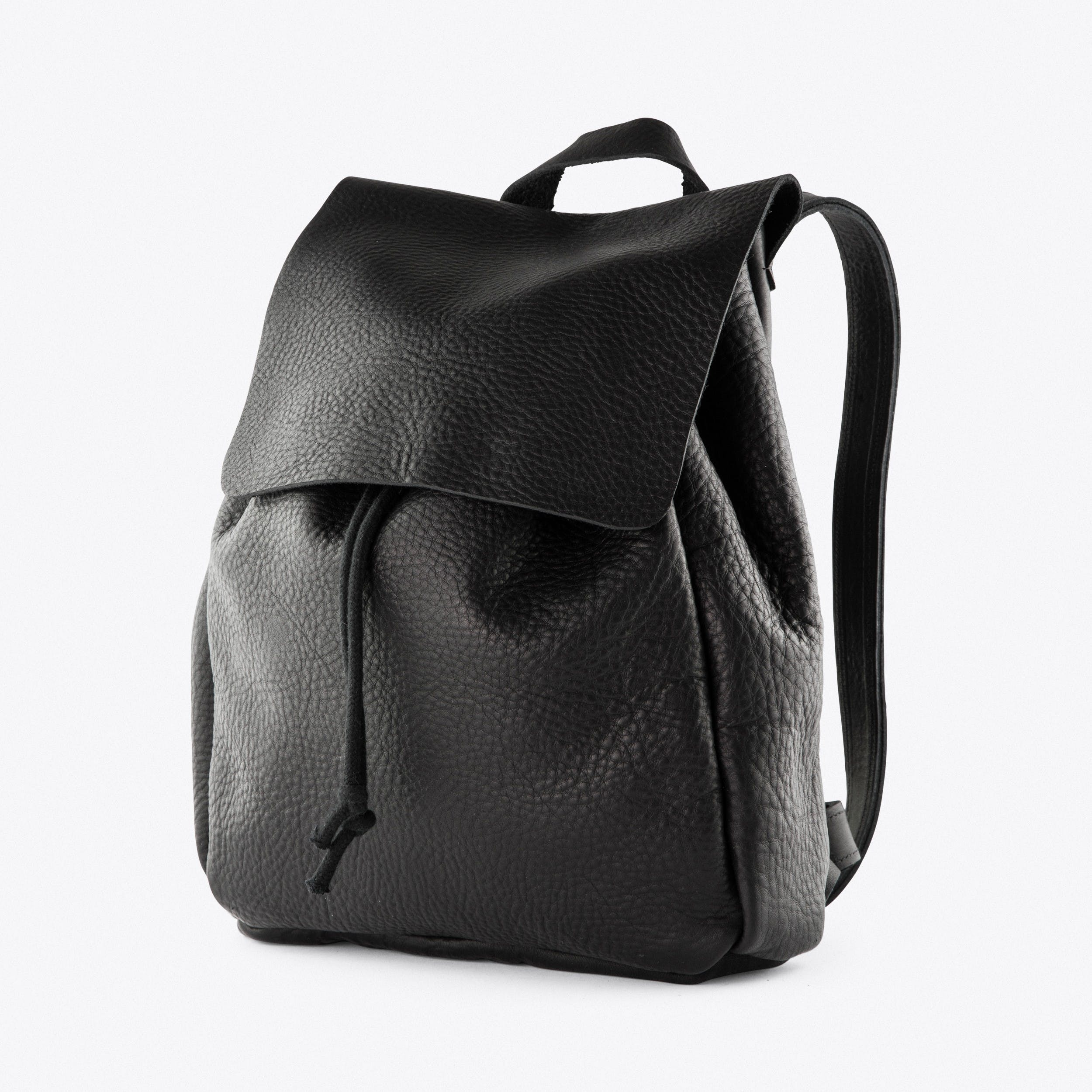 The Backpack in Black Pebbled Leather