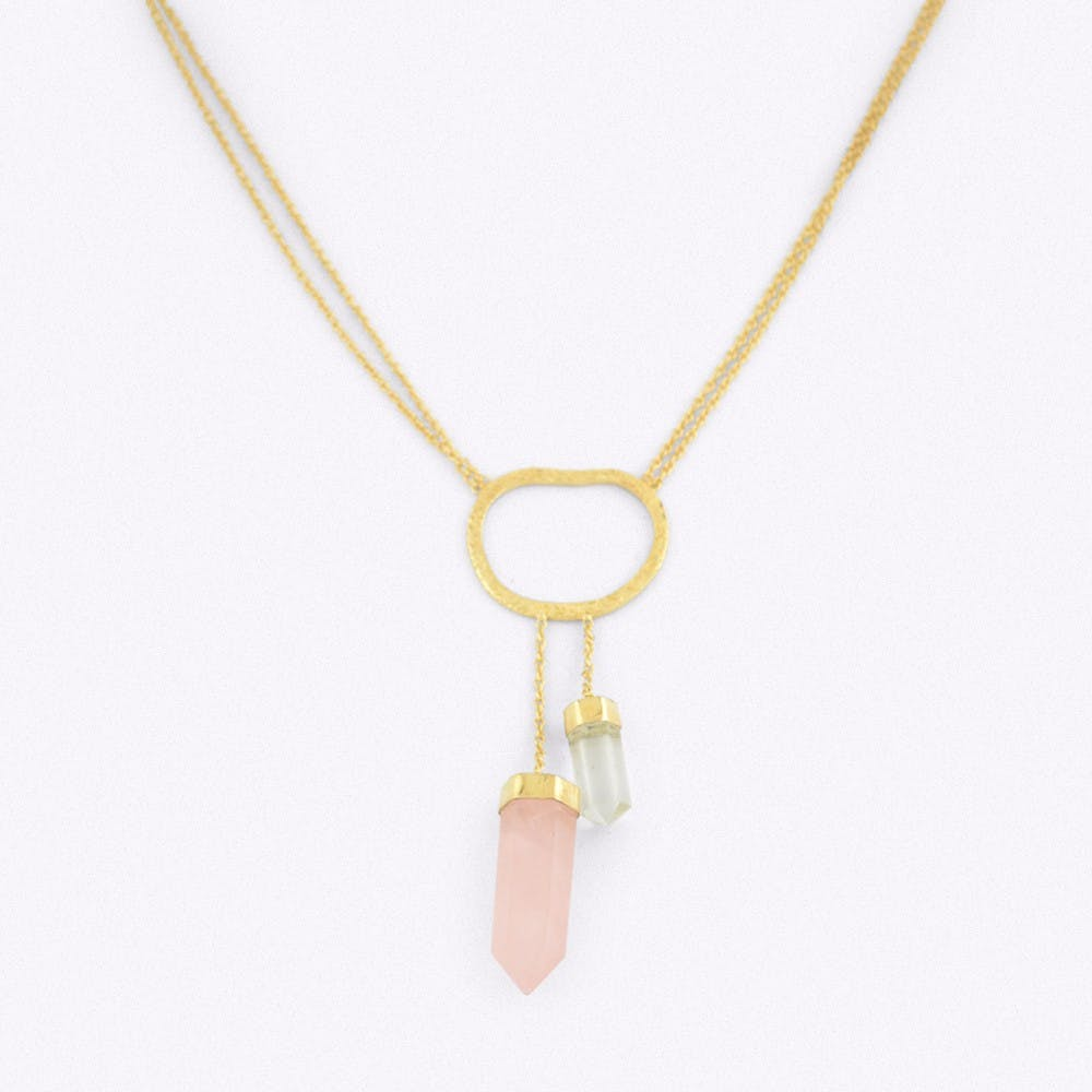 Gold Double Drop Crystal Necklace