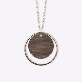 Adverbium Necklace in Wood & Gold