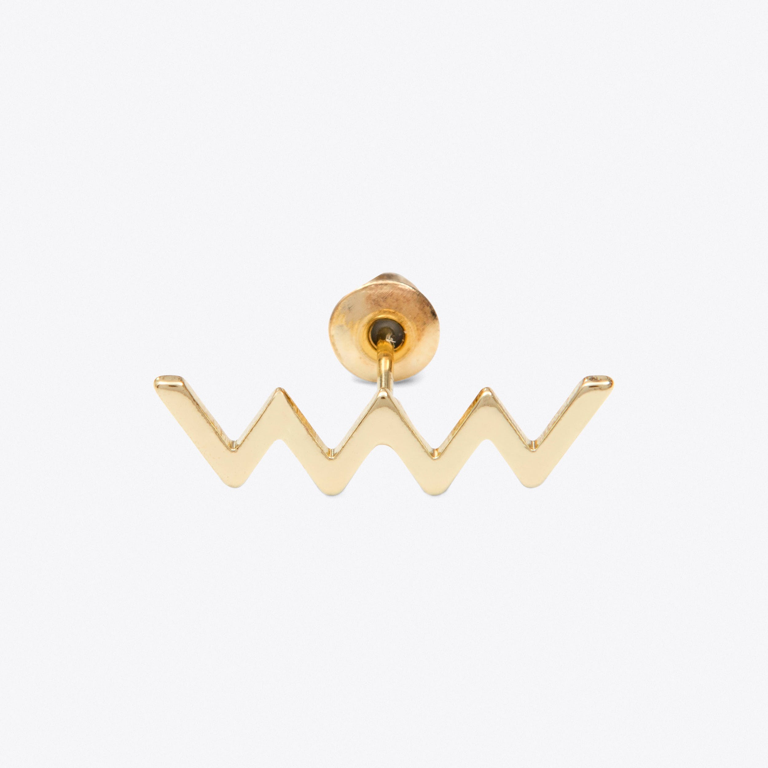 Single Zigzag Stud in Gold