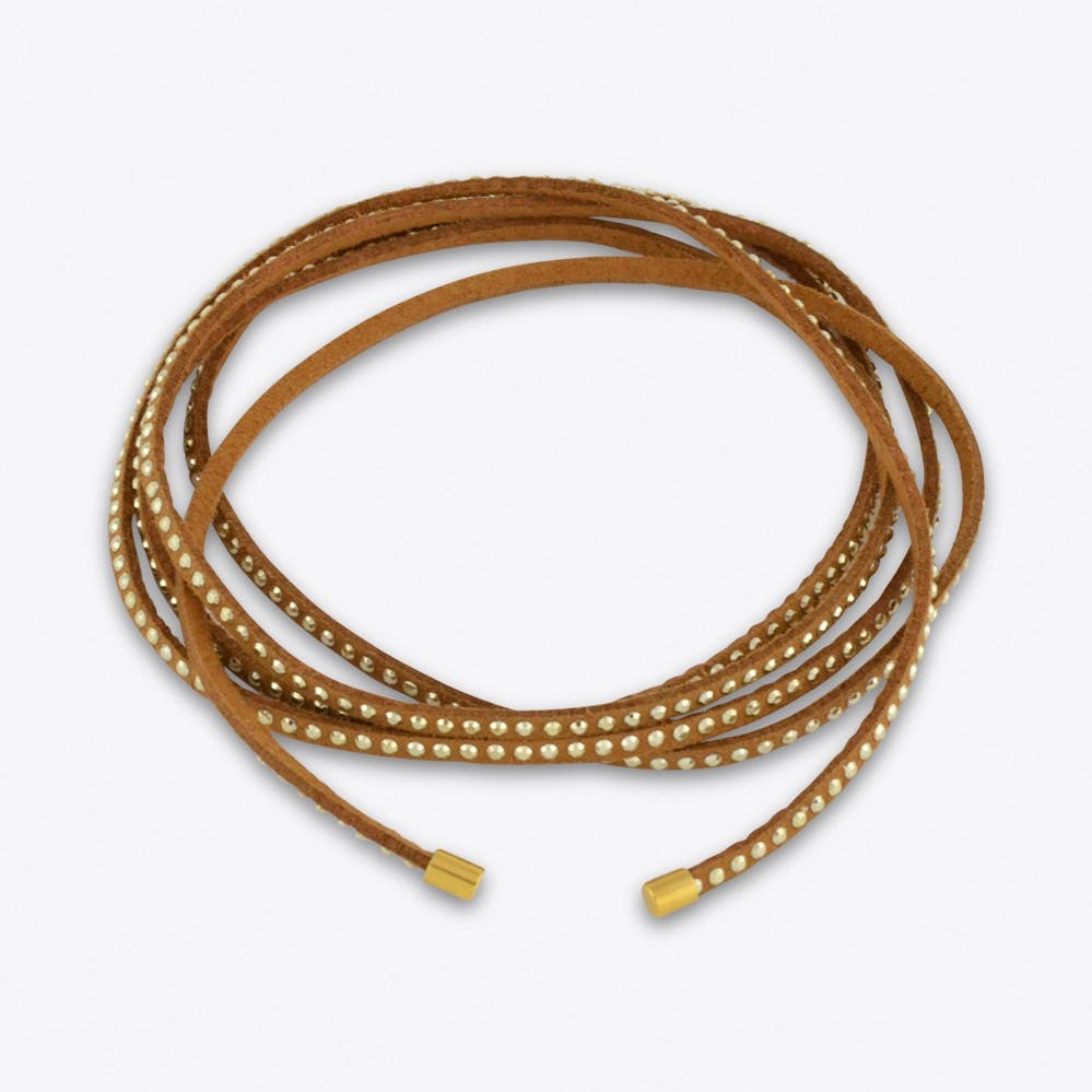Dark Tan Suede Gold Studded Multiway Choker Necklace