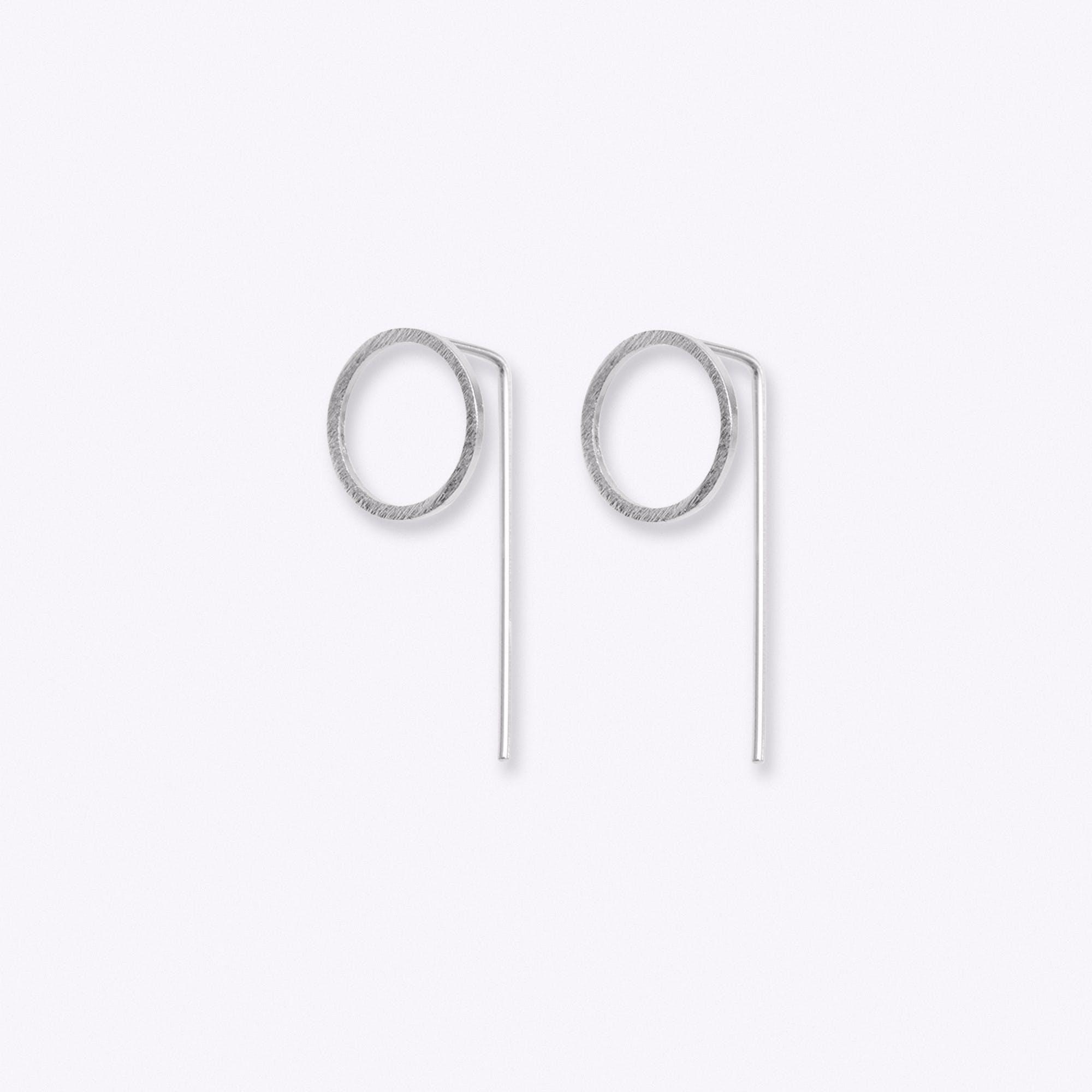 Silver Circle Drop Back Earrings