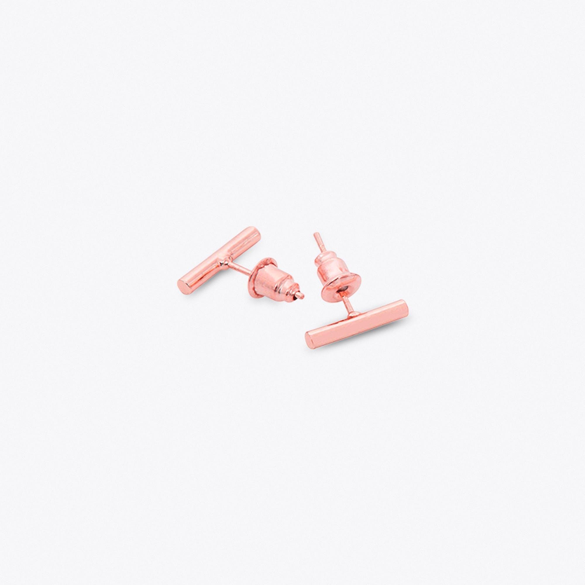 Rose Gold Bar Earrings