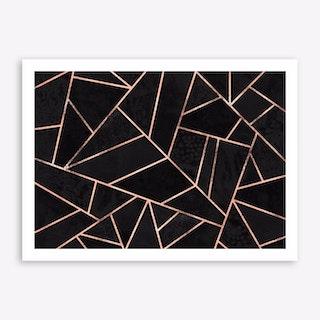 Velvet Black And Rose Gold Art Print