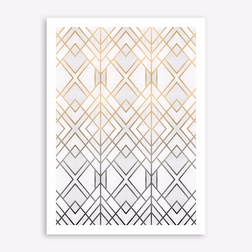 Gold And Grey Geo Print