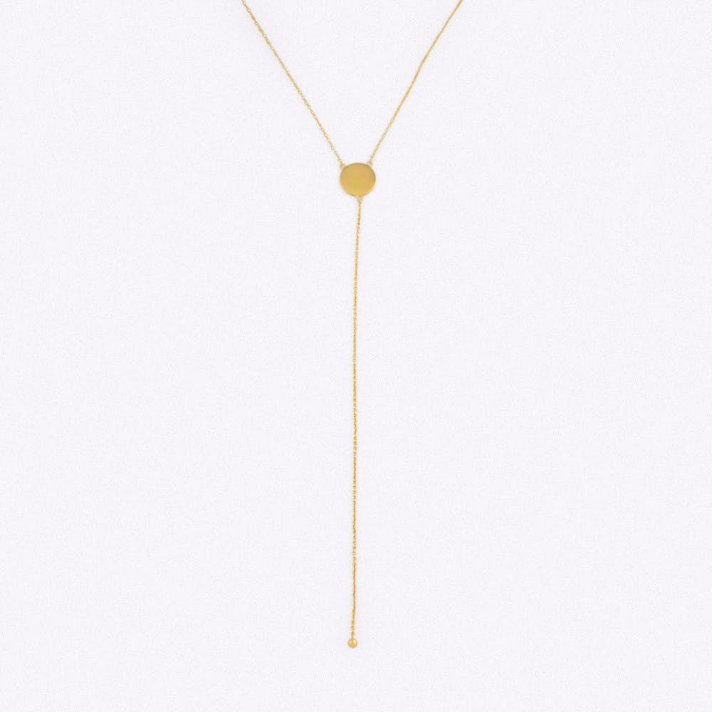 Gold Disk Drop Necklace with Slider