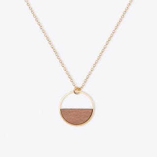 Wooden Circle Necklace in Gold - Short