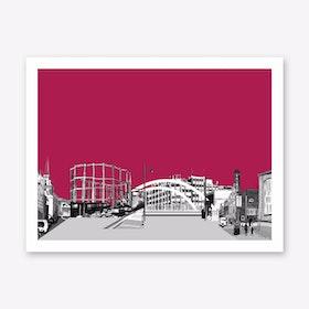 East London Landscape Maroon A3 Art Print
