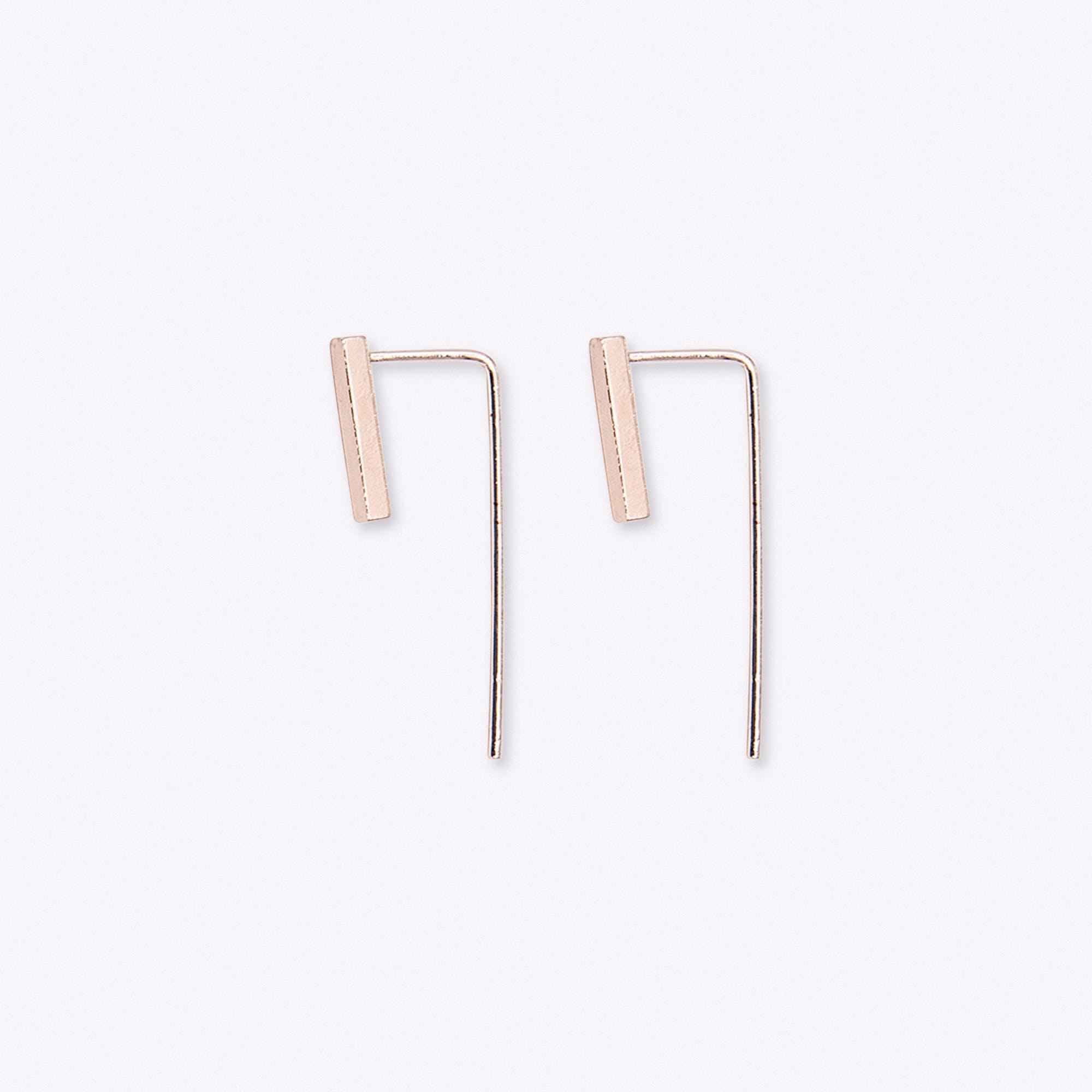 Gold Bar Drop Back Earrings