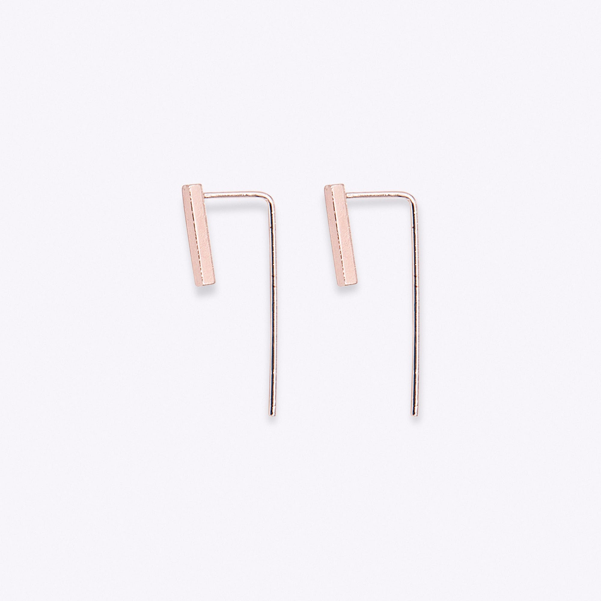 Rose Gold Bar Drop Back Earrings