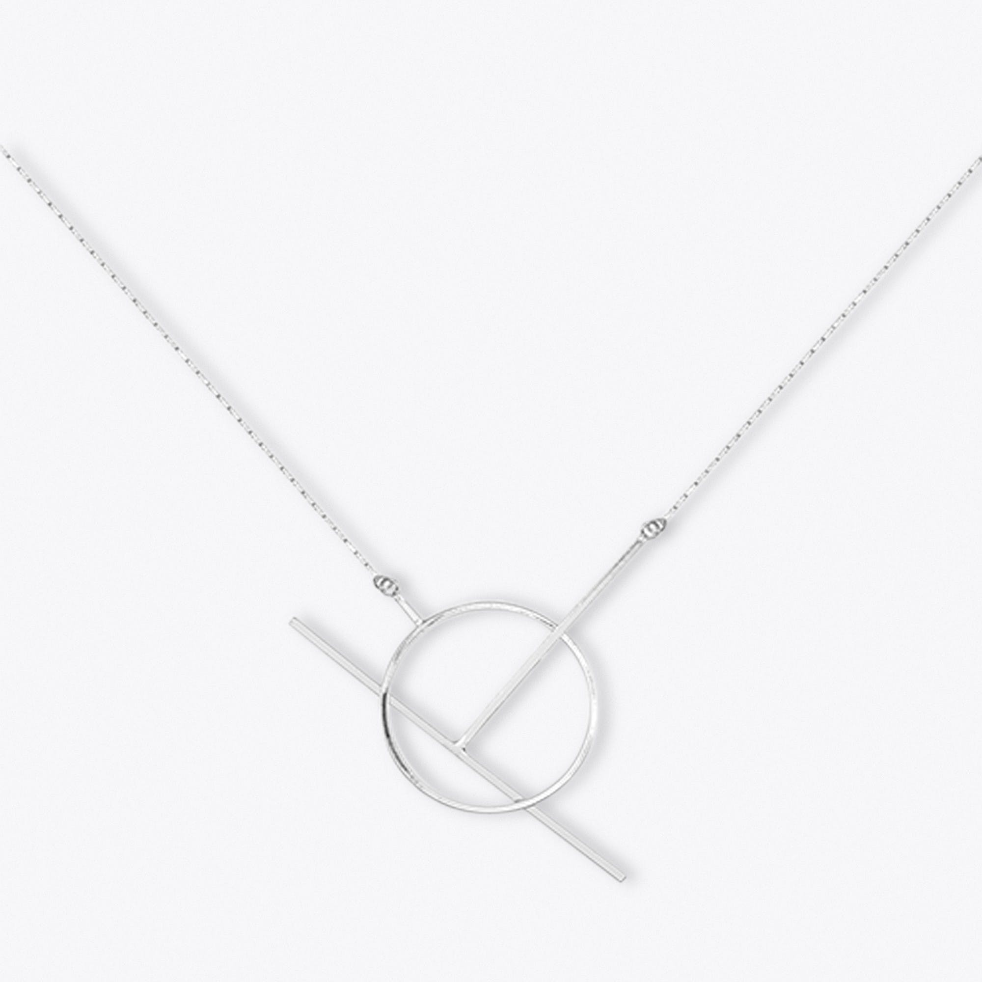 Silver Geometric Lariat Necklace