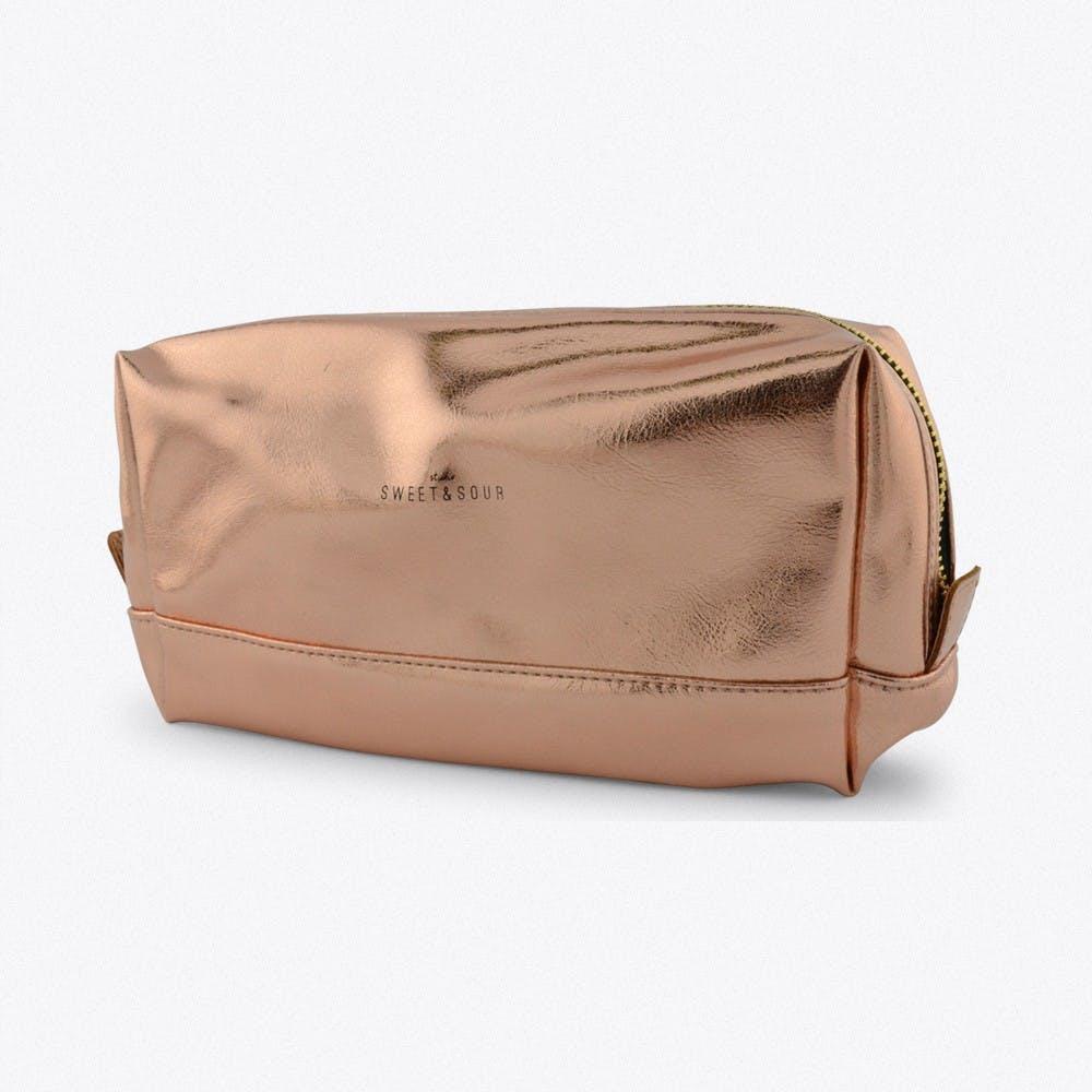 Medium Square Make-Up Bag In Copper