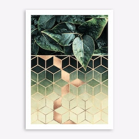 Leaves And Cubes 2 Art Print