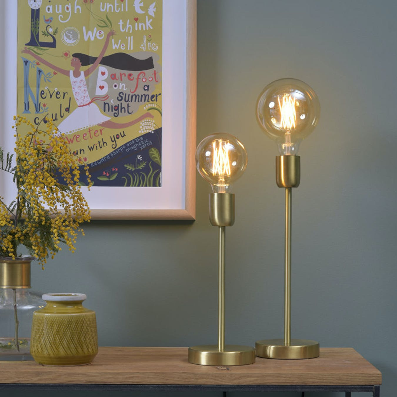 small gold table lamp