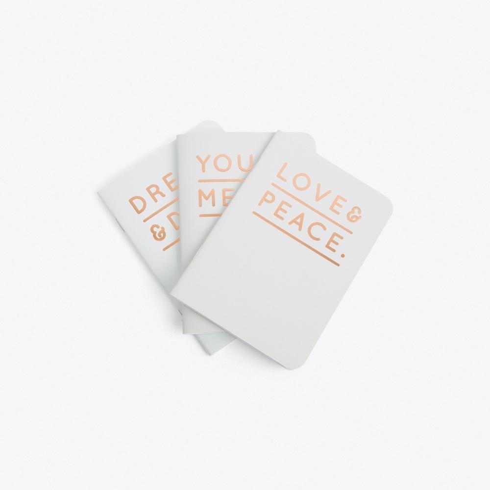Set of 3 Grey Embossed Notebooks