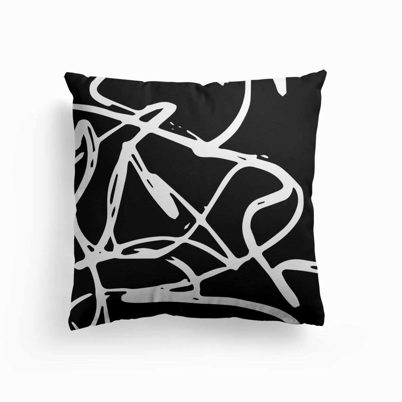 Faux Gold Scribble Accent Pillow