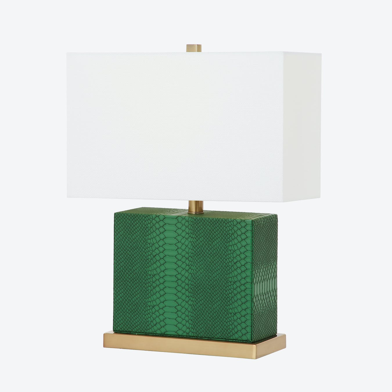 Green Leather Rectangle Lamp With Black