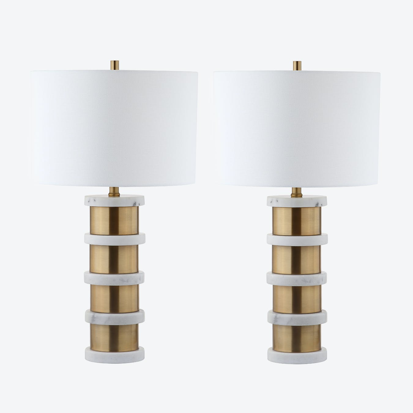 Gold Metal And White Marble Table Lamp