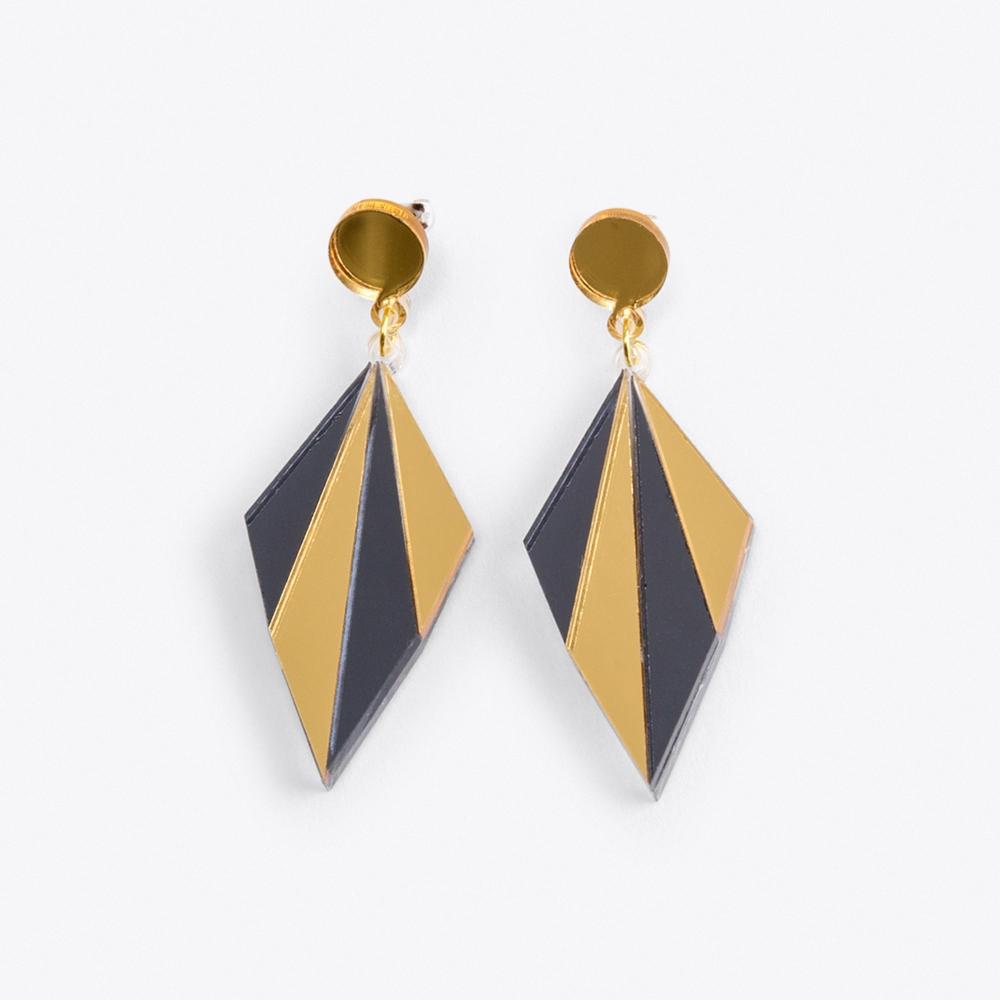 Art Deco Earrings in Black & Gold Mirror